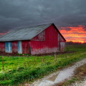 Sunset Over Grandpa's Barn
