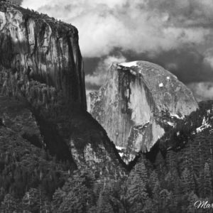 Yosemite Half Dome Window BW