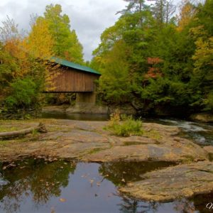 Autumn Vermont Waterville Covered Bridge 18mm