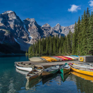 Alberta Rockies Lake Moraine Canoes