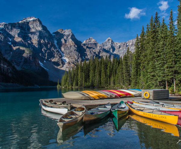 Alberta Rockies Lake Moraine Canoes