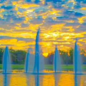 Tavares Memorial Fountain Sunrise