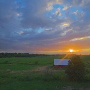 Sunburst Sunset Over Grandpas Barn