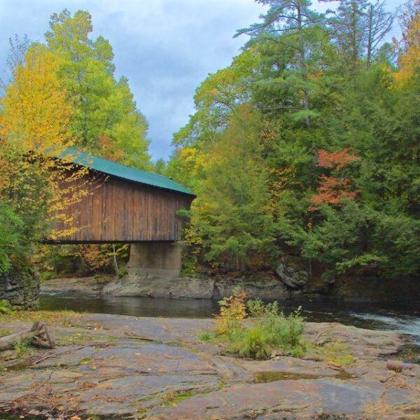 Autumn Waterville Vermont Covered Bridge Creek Span